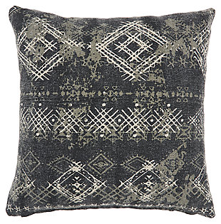 Modern Distress Diamonds Life Styles Charcoal Pillow, , large