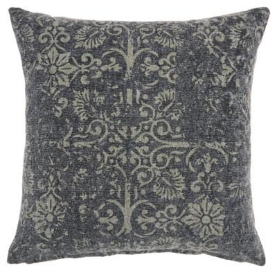 Modern Distress Damask Life Styles Charcoal Pillow, , large