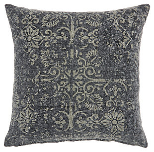Modern Distress Damask Life Styles Charcoal Pillow, , rollover