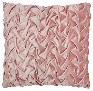 Modern Velvet Pleated Waves Life Styles Blush Pillow, Pink, large