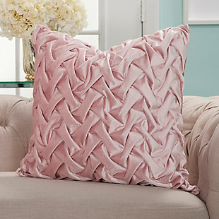 Modern Velvet Pleated Waves Life Styles Blush Pillow, Pink, rollover