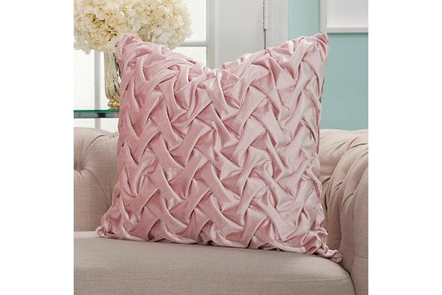 Modern Velvet Pleated Waves Life Styles Blush Pillow, Pink, large