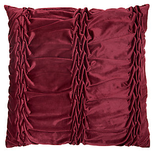 Modern Velvet Ruffle Pleats Life Styles Burgundy Pillow, Red, large