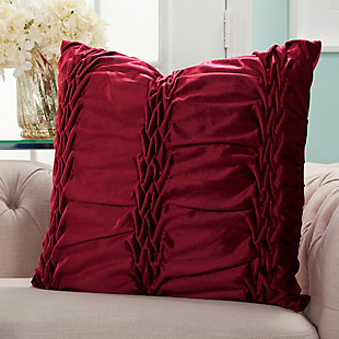 Modern Velvet Ruffle Pleats Life Styles Burgundy Pillow, Red, rollover