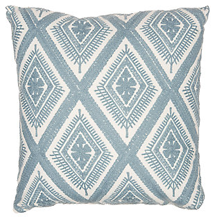 Modern Crochet Diamonds Life Styles Ocean Pillow, Blue/White, large