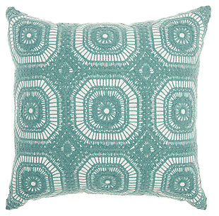Modern Crochet Tiles Life Styles Celadon Pillow, , large