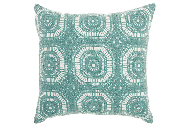 Modern Crochet Tiles Life Styles Celadon Pillow, , large