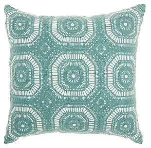 Modern Crochet Tiles Life Styles Celadon Pillow, , rollover