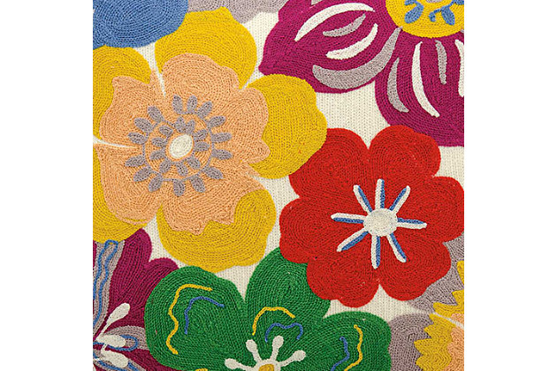 Modern Wild Flowers Life Styles Multicolor Pillow, , large