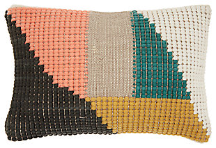 Modern Woven Geometric Life Styles Multicolor Pillow, , large