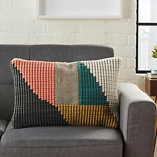Modern Woven Geometric Life Styles Multicolor Pillow, , rollover