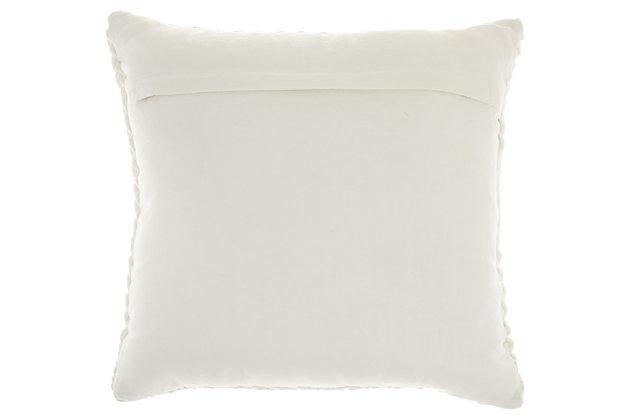 Modern Pleated Velvet Life Styles Cream Pillow, White, large