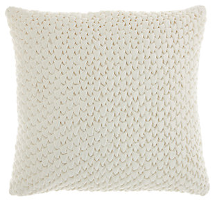 Modern Pleated Velvet Life Styles Cream Pillow, White, large