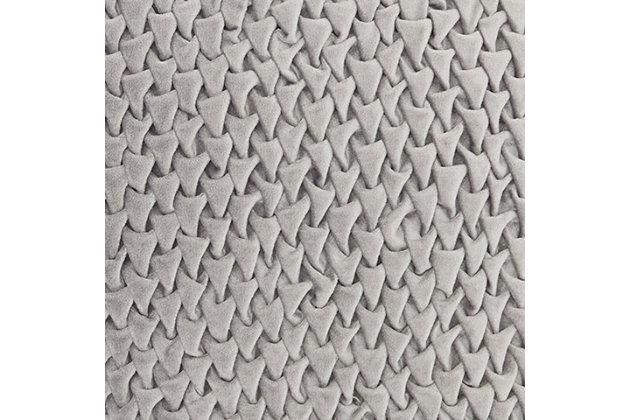 Modern Pleated Velvet Life Styles Dark Gray Pillow, Gray, large