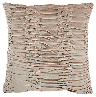 Modern Ruched Velvet Life Styles Beige Pillow, Beige, large
