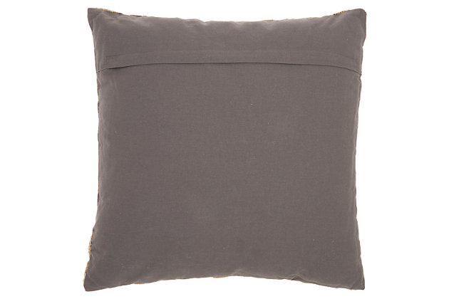 Met Wavy Lines Life Styles Charcoal Pillow, Gray/Gold, large