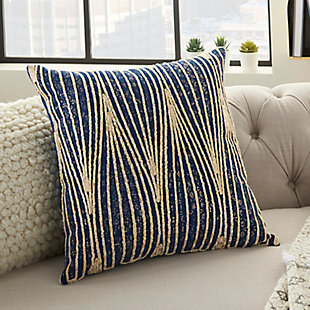 Modern Met Wavy Lines Life Styles Navy Pillow, Blue/Gold, large