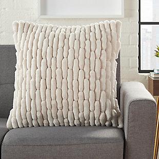 Modern Velvet Cobblestone Life Styles Ivory Pillow, , rollover