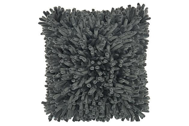 Modern Velvet Sponge Finger Life Styles Dark Gray Pillow, , large