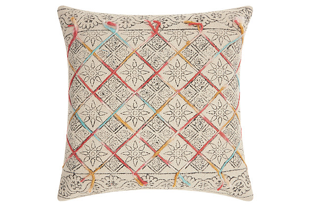 Modern Tile Stonewash Life Styles Multicolor Pillow, , large