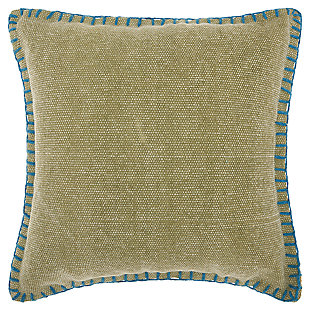 Modern Stitched Border Life Styles Green Pillow, , large