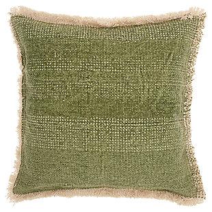 Modern Stonewash Life Styles Sage Pillow, Green, large