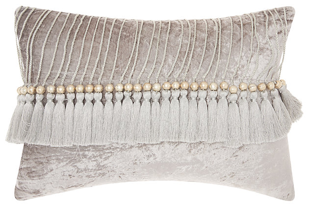 Modern Velvet Tassels Life Styles Gray Pillow, Gray, large