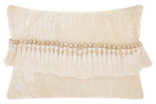 Modern Velvet Tassels Life Styles Ivory Pillow, White, large