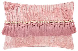 Modern Velvet Tassels Life Styles Rose Pillow, Pink, large