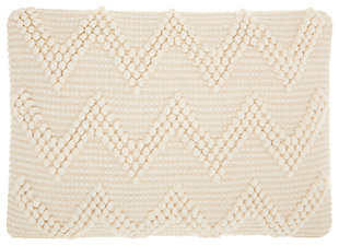 Modern Large Chevron Life Styles Ivory Pillow, Beige, large
