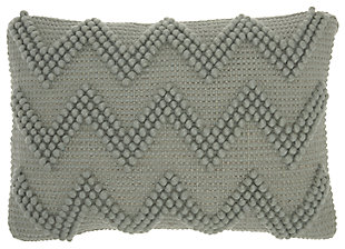 Modern Large Chevron Life Styles Light Gray Pillow, Gray, large