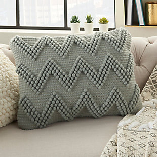 Modern Large Chevron Life Styles Light Gray Pillow, Gray, rollover
