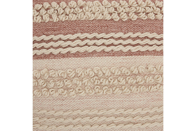 Modern Texture Stripes Life Styles Blush Pillow, Pink, large