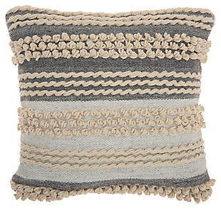 Modern Texture Stripes Life Styles Ocean Pillow, Blue/Beige, large