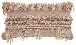Modern Fringe Border Life Styles Blush Pillow, , large