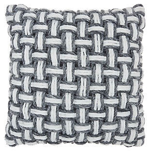 Modern Basketweave Life Styles Gray Pillow, Gray/White, large