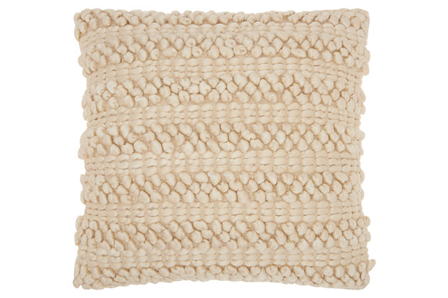 Modern Woven Stripes Life Styles Beige Pillow, , large