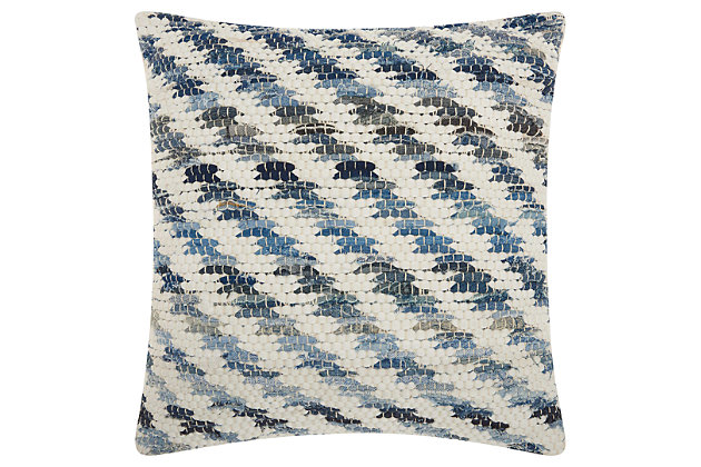 Modern Woven Denim Diagonal Life Styles Denim Pillow, , large