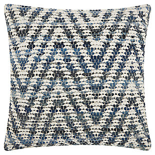 Modern Woven Denim Chevron Life Styles Denim Pillow, , large