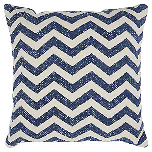 Modern Printed Chevron Life Styles Navy Pillow, , large