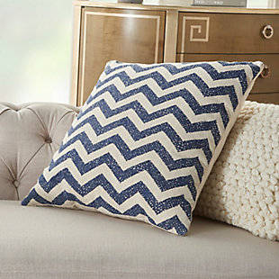 Modern Printed Chevron Life Styles Navy Pillow, , rollover
