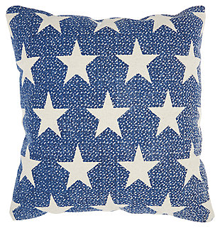 Modern Printed Stars Life Styles Navy Pillow, , large