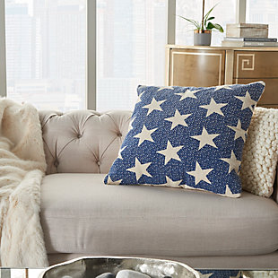 Modern Printed Stars Life Styles Navy Pillow, , rollover