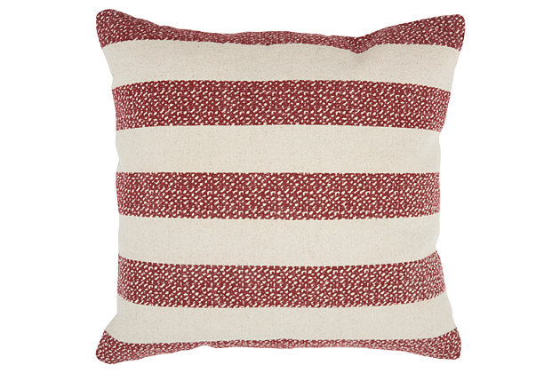 Modern Printed Stripes Life Styles Red Pillow, , large