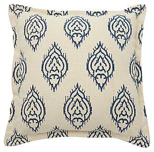 Modern Printed Ikat Life Styles Indigo Pillow, , large