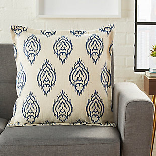 Modern Printed Ikat Life Styles Indigo Pillow, , rollover
