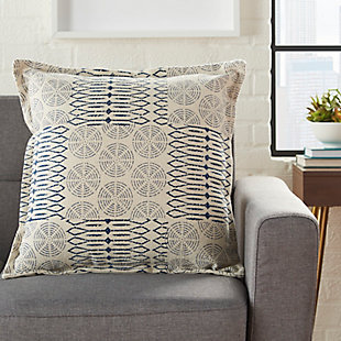 Modern Printed Circle Patch Life Styles Indigo Pillow, , rollover