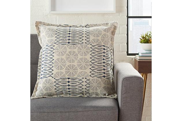 Modern Printed Circle Patch Life Styles Indigo Pillow, , large