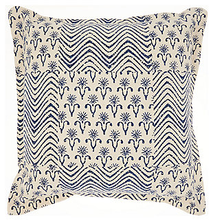 Modern Printed Flower Patch Life Styles Indigo Pillow, , large