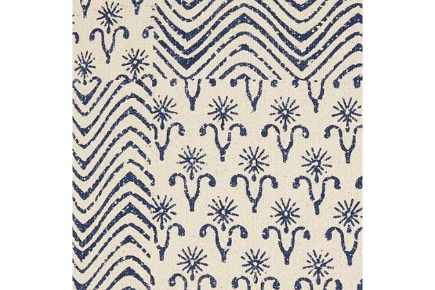 Modern Printed Flower Patch Life Styles Indigo Pillow, , large